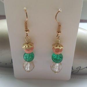 Golden/ Peach/ Green Glass/ Crystal Earrings 💎